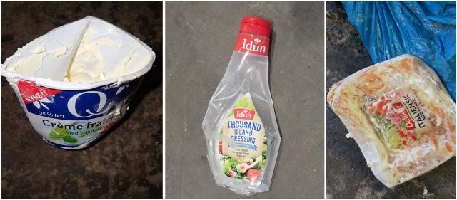 Plastemballasje som er for dårlig rengjort utgjør en betydelig del av forurensningene som finnes under kvalitetsrevisjonene, Foto: Grønt Punkt Norge.