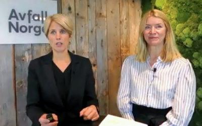 """God stemning i """"studio"""" etter valgene på Avfall Norges ekstraordinære generalforsamling. Synnøve Bjørkes første oppgave ble en hjertelig avtakking av forgjengeren Berit Pettersen."""