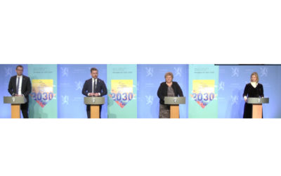 Foruten klima- og miljøministeren og statsministeren fikk koalisjonspartnernes partiledere være med da Klimaplan 2021-30 ble presentert fredag 8. januar.
