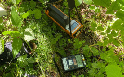 Måling av radioaktivitet i området ved Søve gruve - Foto: Hanne Lund-Nilsen, NND