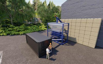 BESKJEDENT: Slik framstilles det planlagte anlegget på Rokke i en animasjon, med en kvern og pyrolyse-enheten i en kontainer.